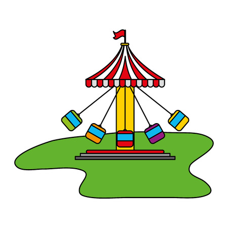 carousel chairs entertainment carnival fun fair vector illustration