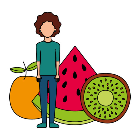 woman fresh fruits nutrition diet vector illustration Illustration