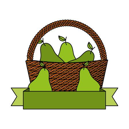 wicker basket pear fresh banner vector illustration