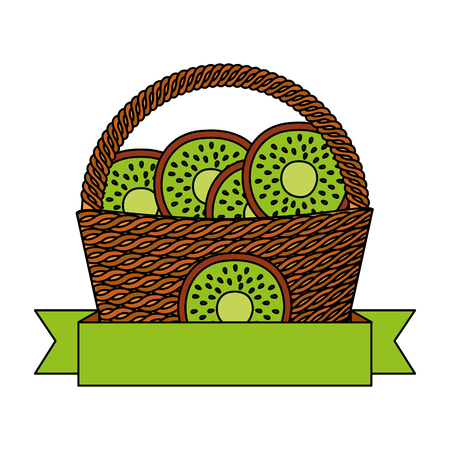 wicker basket kiwi fresh banner vector illustration  イラスト・ベクター素材