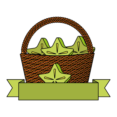 wicker basket carambola fresh banner vector illustration
