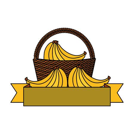 wicker basket banana fresh banner vector illustration