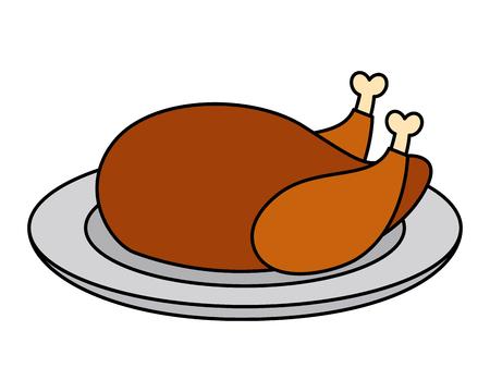 roasted chicken on dish dinner vector illustration