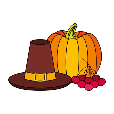 thanksgiving hat pumpkin and cherries vector illustration Illustration