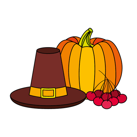thanksgiving hat pumpkin and cherries vector illustration 向量圖像