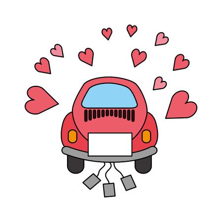 wedding car with cans love hearts vector illustration Çizim