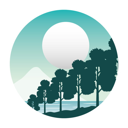 river trees mountain night moon nature landscape background vector illustration