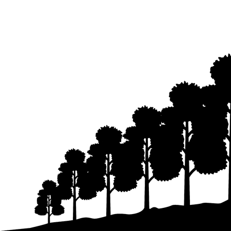 silhouette trees nature landscape background vector illustration