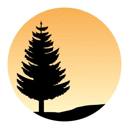 tree forest stars nature silhouette vector illustration Illustration