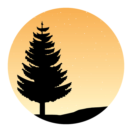 tree forest stars nature silhouette vector illustration Иллюстрация