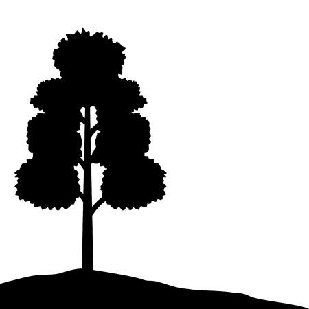 tree forest nature silhouette landscape vector illustration