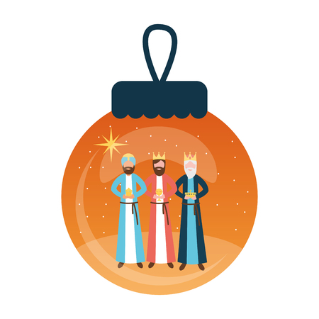 epiphany wise men with gifts in ball vector illustration vector illustration