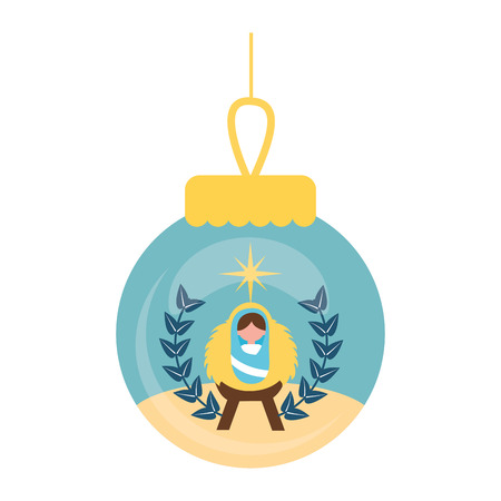 baby jesus christmas ball decoration vector illustration