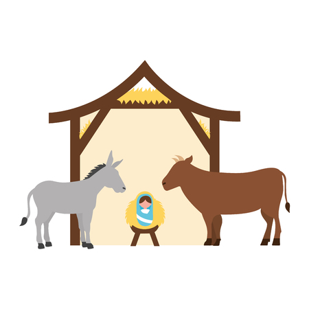 baby jesus donkey and cow manger christmas vector illustration
