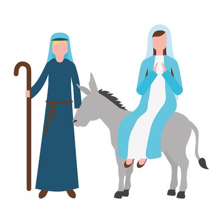 virgin mary on donkey and joseph travel christmas vector illustration 矢量图像
