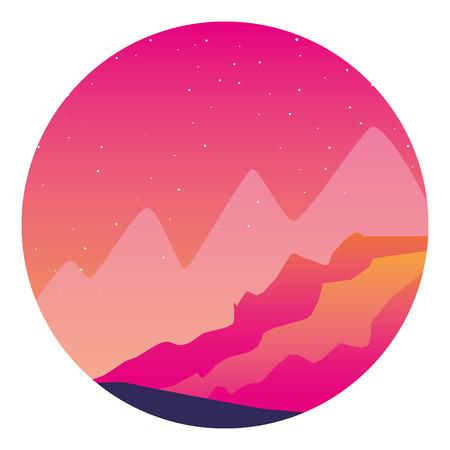 mountains starry sky nature landscape background vector illustration Illustration