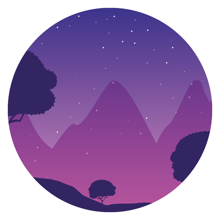 night mountains trees nature landscape background vector illustration