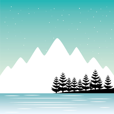 mountains pine trees river nature landscape background vector illustration