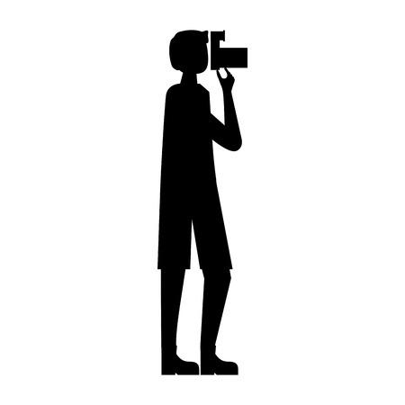 tourist man photography camera device vector illustration Illustration