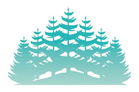 forest trees nature flora landscape vector illustration
