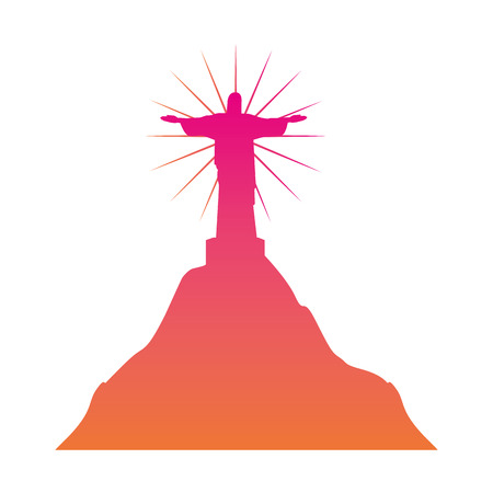 de janeiro christ statue landmark vector illustration