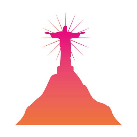 Ilustración de vector de histórica estatua de Cristo de janeiro
