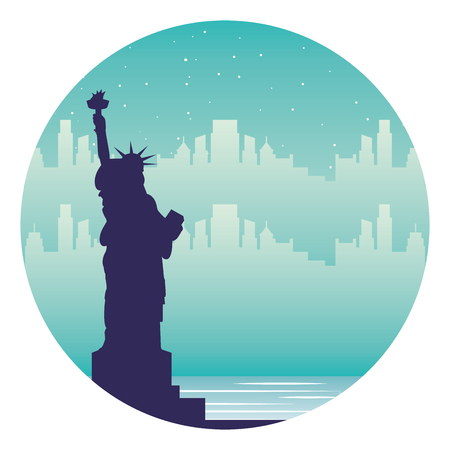 new york statue of liberty city landmark vector illustration