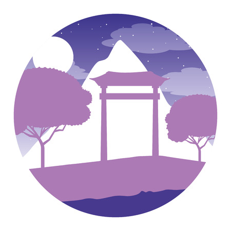 japanese gate mountain trees night moon vector illustration Çizim