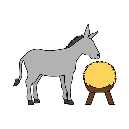 donkey and hay on white background vector illustration