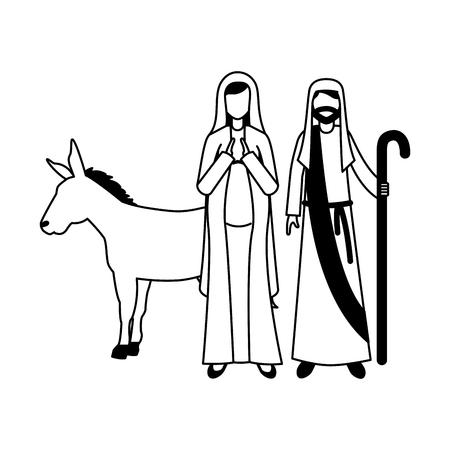 virgin mary joseph and donkey christmas vector illustration 일러스트