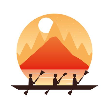 men paddling in canoe landscape vector illustration