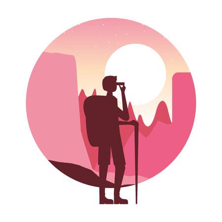 man hiking with backpack binoculars landscape vector illustration Illustration