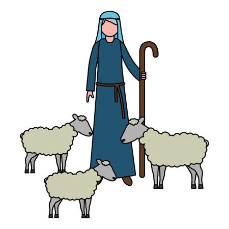 Hirte mit Herde Schaf Charakter Vector Illustration