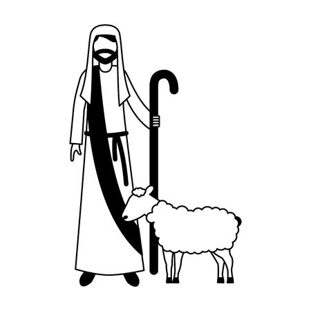 Berger avec bâton et moutons caractère vector illustration Vecteurs