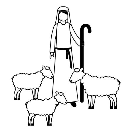 Pastor con ilustración de vector de personaje de rebaño de ovejas