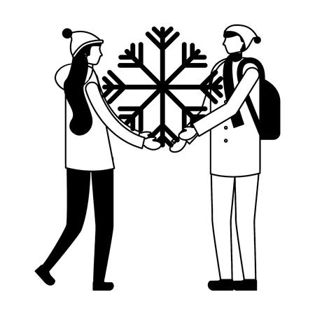 couple holding snowflake winter season vector illustration Illustration