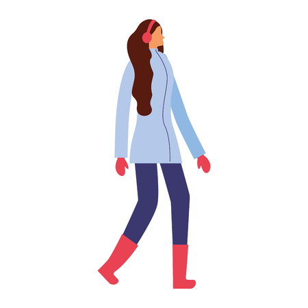 woman standing with winter clothes vector illustration