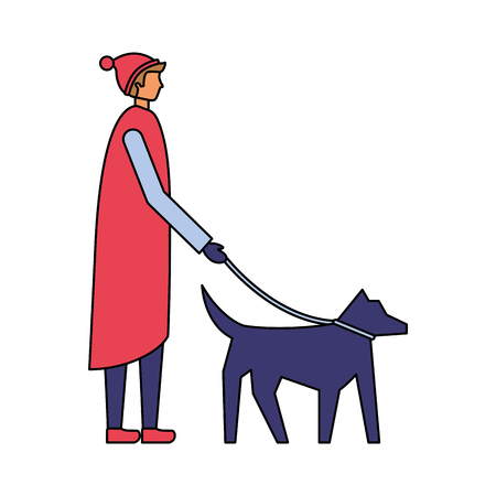 man with winter clothes walking her dog vector illustration Illusztráció