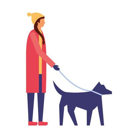 woman with winter clothes walking her dog vector illustration