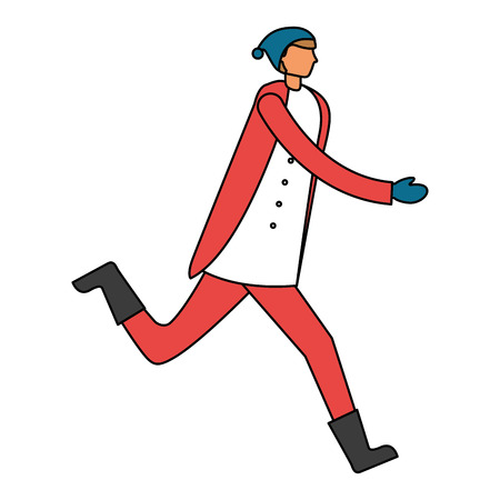 man running with winter clothes vector illustration