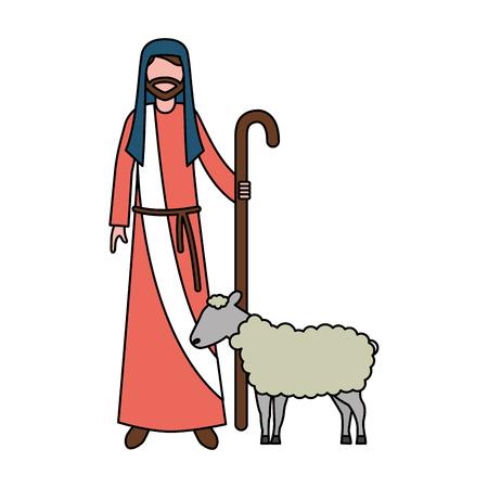 Hirte mit Stock- und Schafcharakter-Vektorillustration