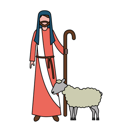 Pastor con palo y oveja personaje vector illustration