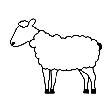 sheep cartoon animal wild life vector illustration Ilustracja