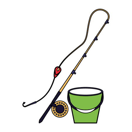fishing rod and bucket equipment vector illustration 일러스트