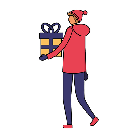 man with winter clothes and gift box vector illustration
