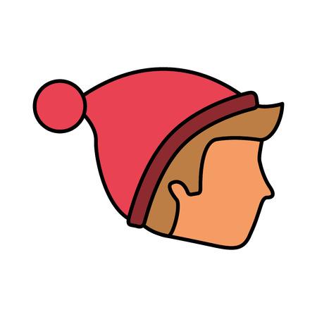 man face wearing winter hat vector illustration