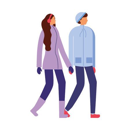 couple holding hands with winter clothes vector illustration Banque d'images - 110850599