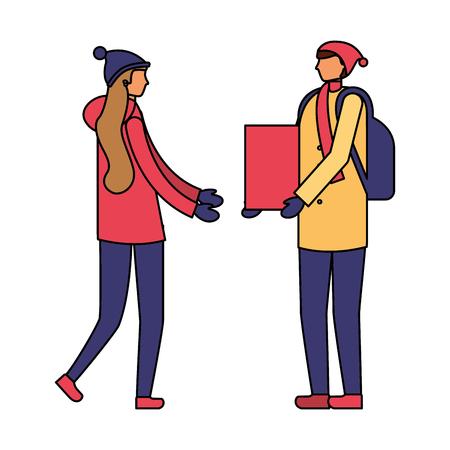man giving gift a woman winter season vector illustration