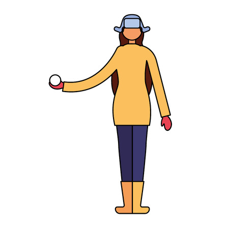 woman with winter clothes holding snow ball vector illustration