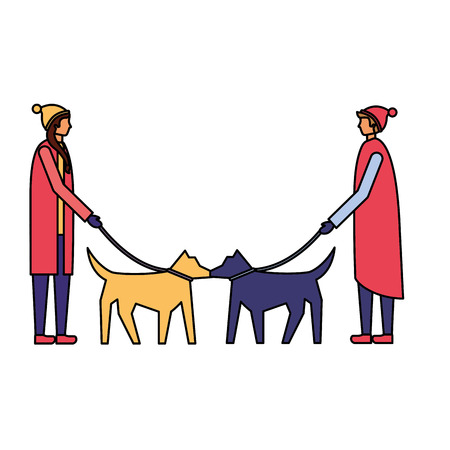 man and woman walking her dogs vector illustration